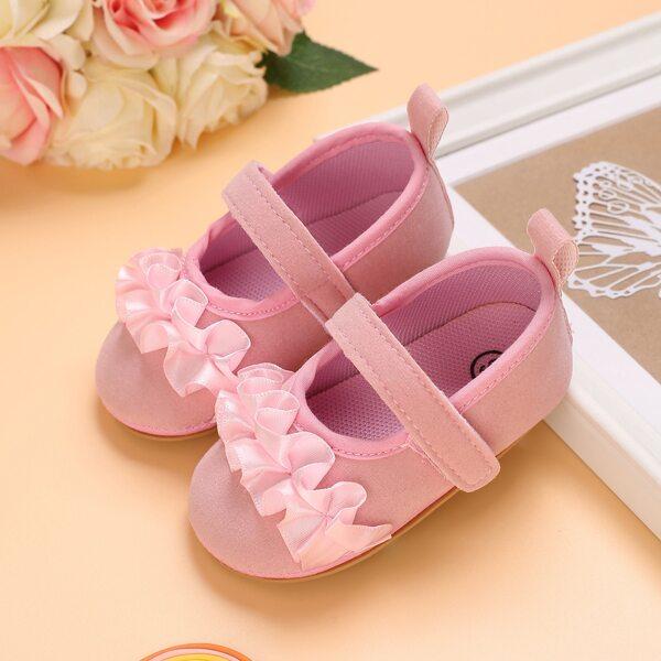 Baby Girl Ruffle Decor Velcro Strap Flats, Pink