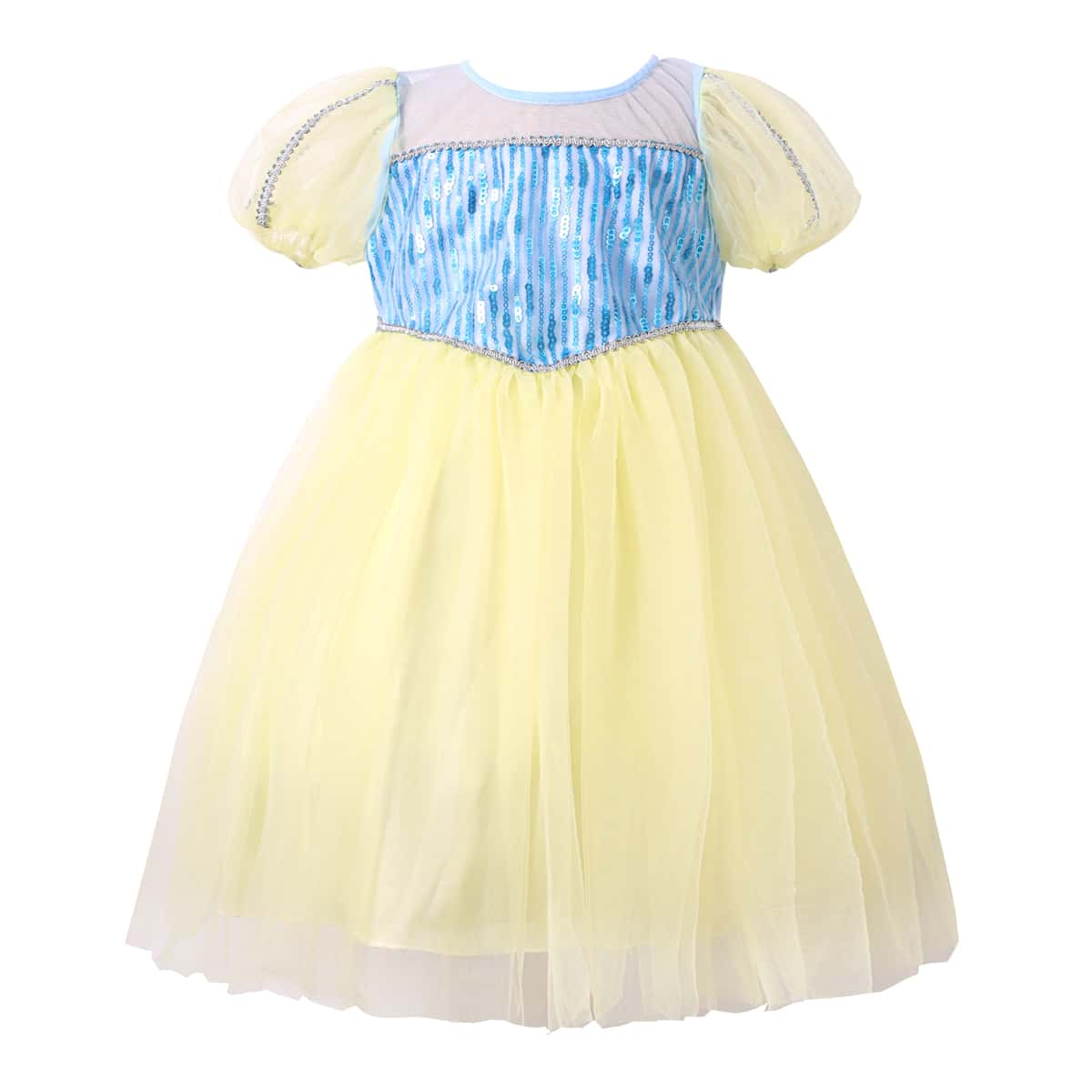 Toddler Girls Contrast Sequins Puff Sleeve Mesh Overlay Party Dress