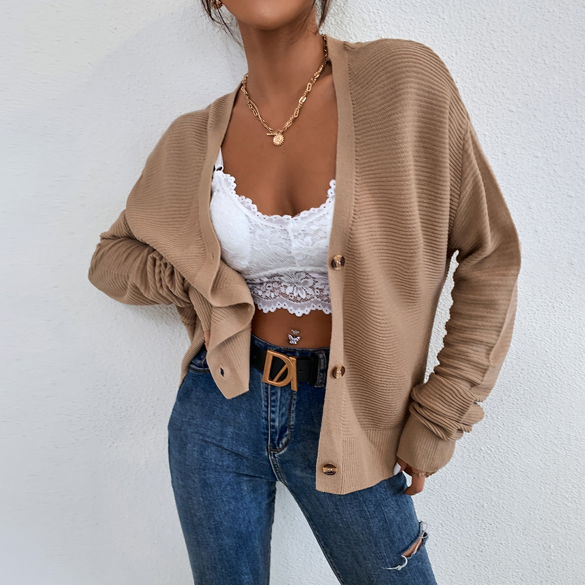 Ribbed Knit Drop Shoulder Cardigan, SHEIN  - buy with discount
