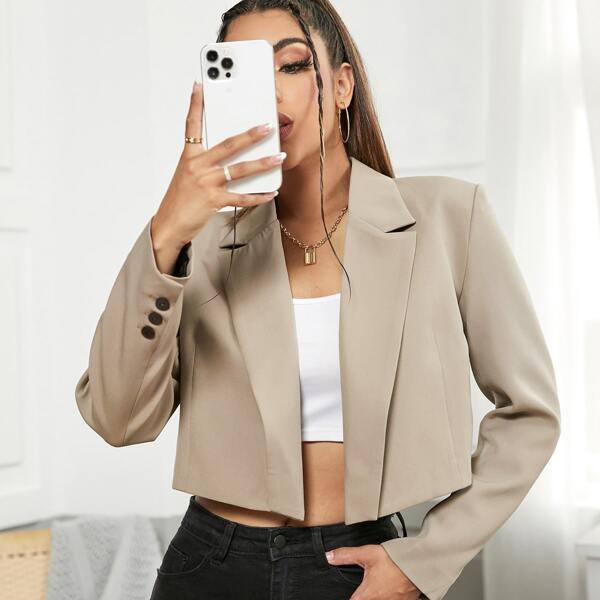 Buttoned Cuff Open Front Crop Blazer, Khaki