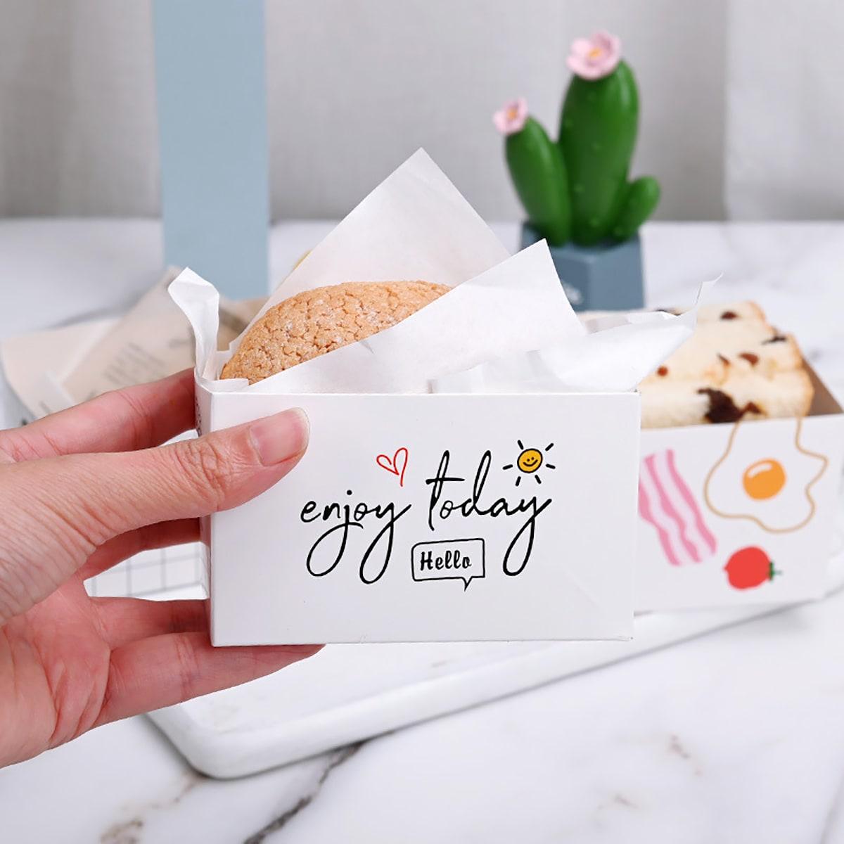 10Pcs Slogan Graphic Sandwich Paper Box