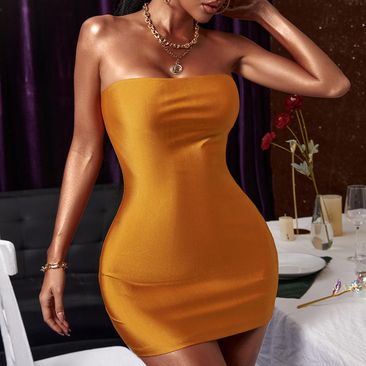 Платье-бандо SheIn sw2106247114147341