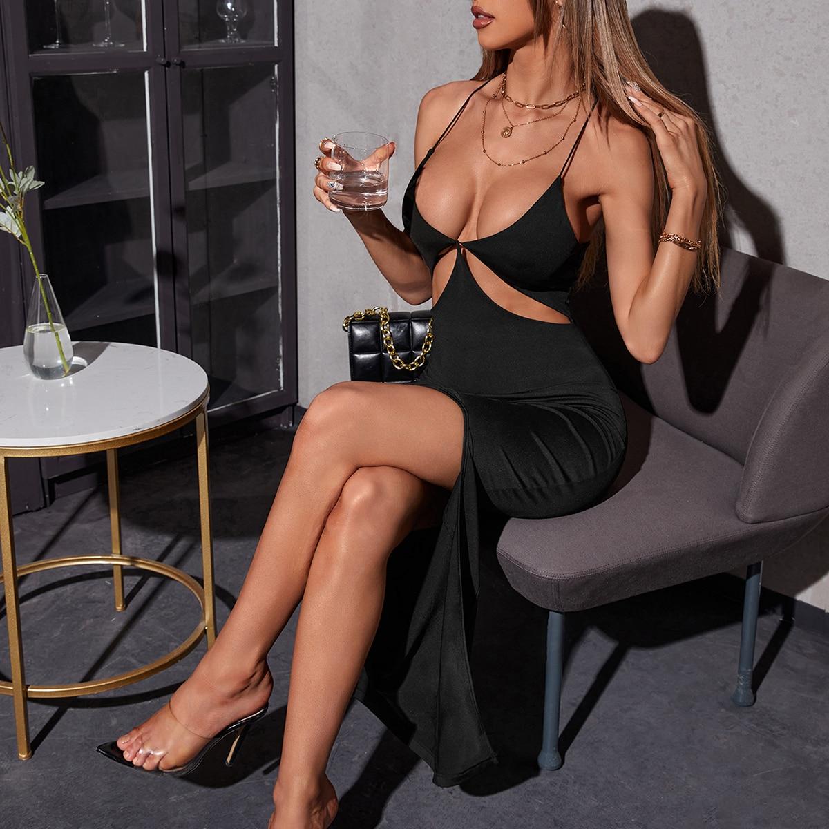 Платье на бретелях с разрезом высоким разрезом SheIn sW210609161461344