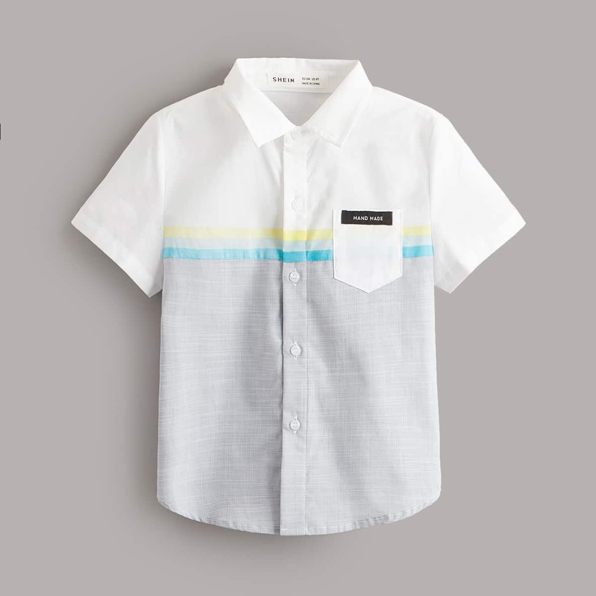 для мальчиков Рубашка в полоску с заплатой с карманом