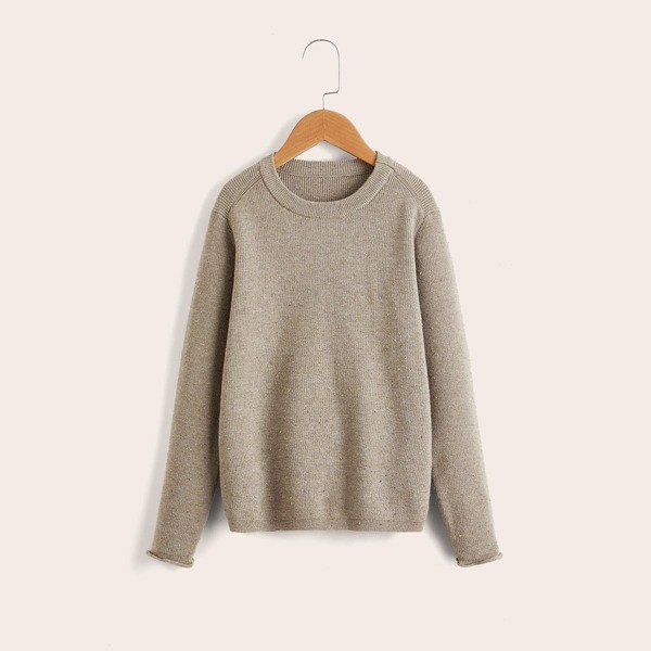 Boys Marled Knit Round Neck Sweater, Khaki