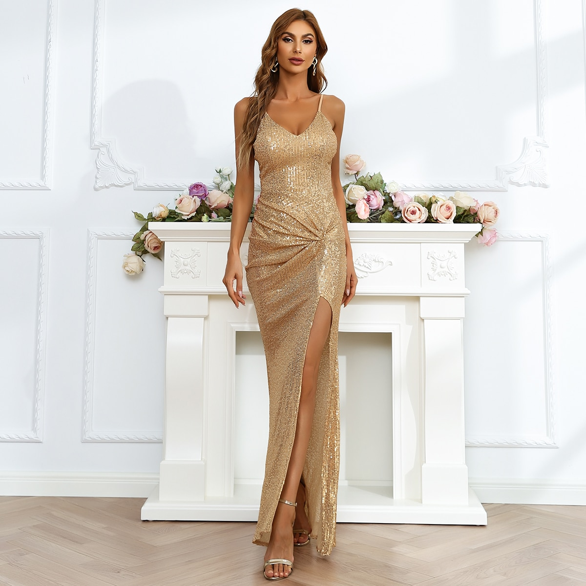Twisted Split Thigh Cami Sequin Dress