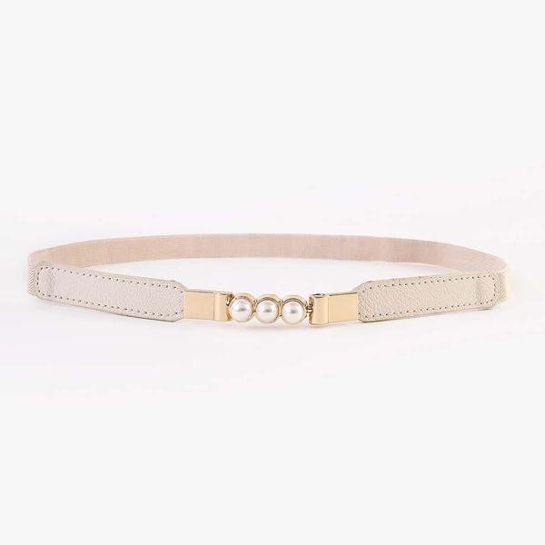 Faux Pearl Decor Corset Belt, Beige
