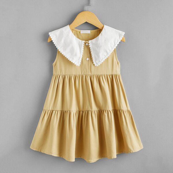 Toddler Girls Peter Pan Collar Ruffle Hem Smock Dress, Khaki