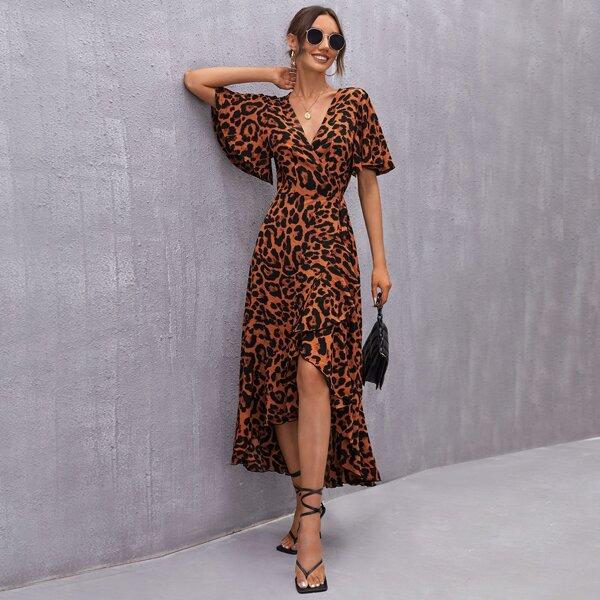 Flutter Sleeve Surplice Wrap Knot Side Ruffle Hem Leopard Dress, Multicolor