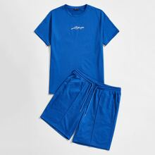 Guys Letter Graphic Top & Track Shorts Set