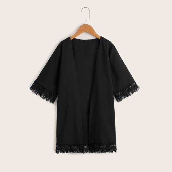Girls Fringe Trim Open Front Kimono, Black