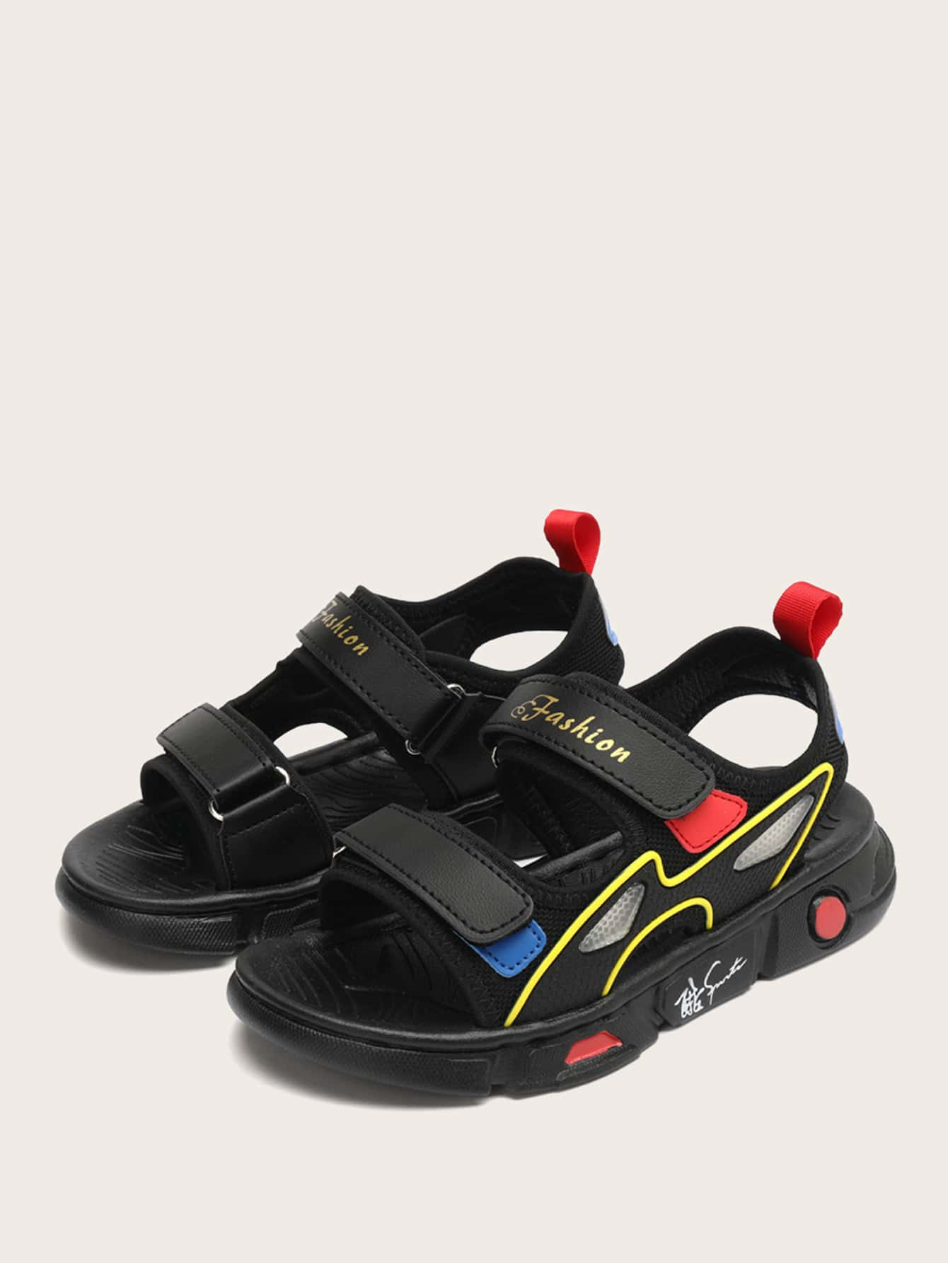 Boys Letter Graphic Velcro Strap Sandals