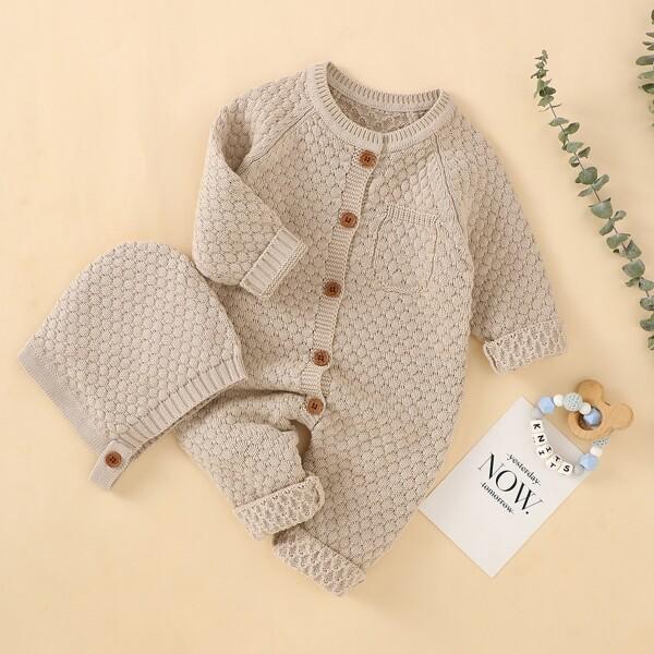 Baby Raglan Sleeve Pocket Detail Knit Jumpsuit & Hat, Camel