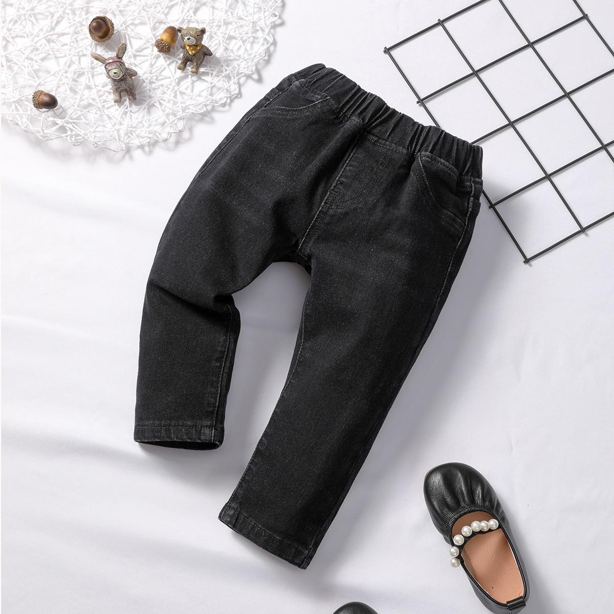 Детские прямые джинсы-унисекс от SHEIN