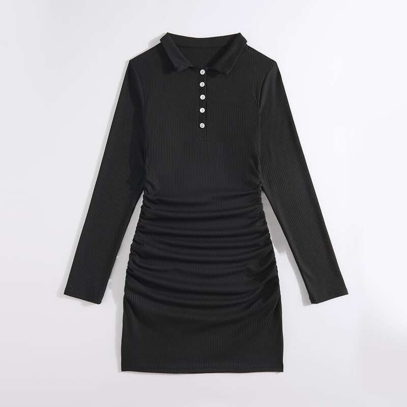 Solid Half Button Front Bodycon Dress, Black