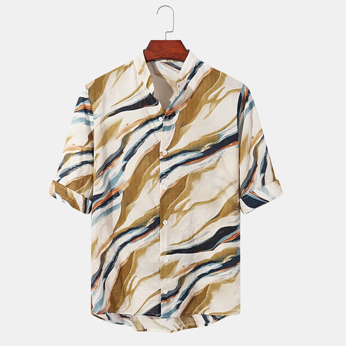 Мужской Рубашка с принтом на пуговицах с коротким рукавом