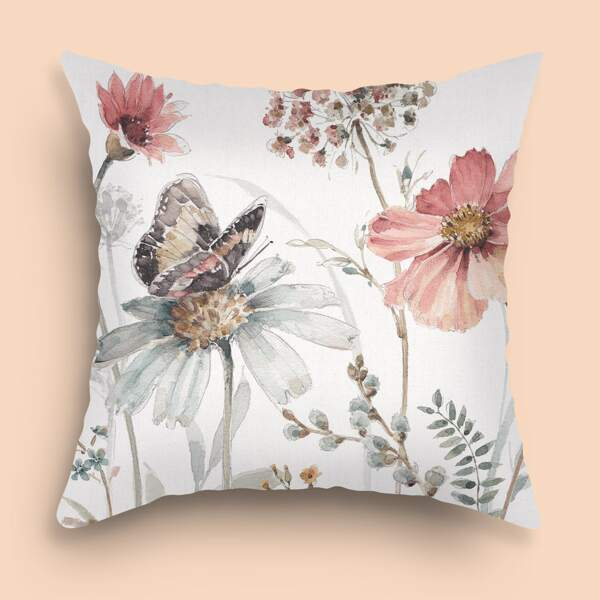 Floral Pattern Cushion Cover Without Filler, Multicolor