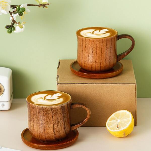 1pc Random Wooden Cup & 1pc Saucer, Coffee brown