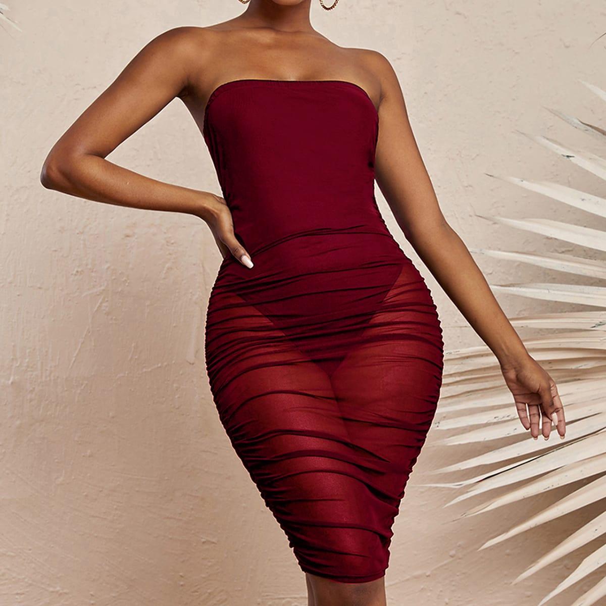 Однотонное облегающее платье-бандо SheIn sw2107027944215955