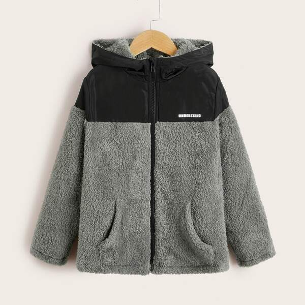 Boys Letter Graphic Zip Up Colorblock Hooded Flannel Jacket, Grey