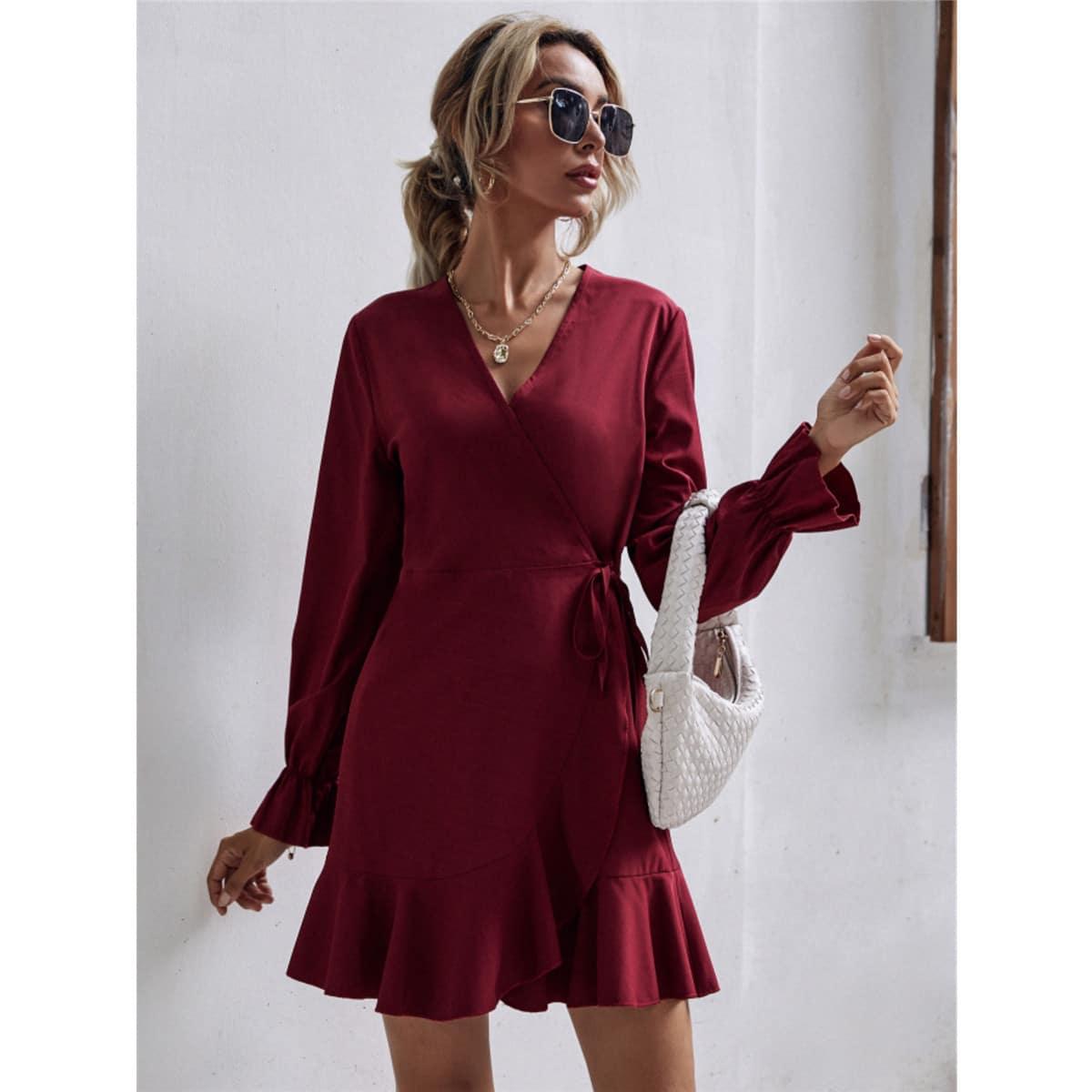 Платье с воланами на рукавах SheIn swdress23210617599