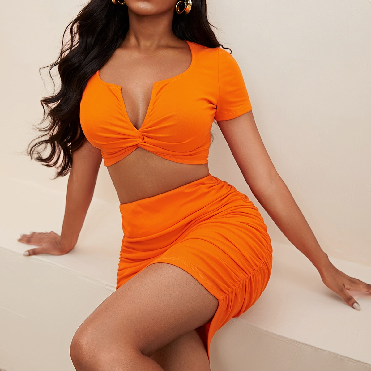 Neon Orange Ruched Knot Deep V Neck Tee & Ruched Bodycon Skirt Set