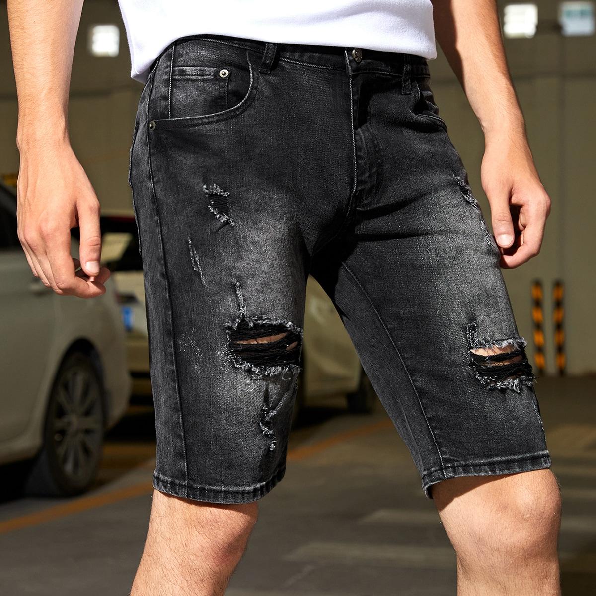 Men Ripped Frayed Slant Pocket Denim Shorts, SHEIN  - buy with discount