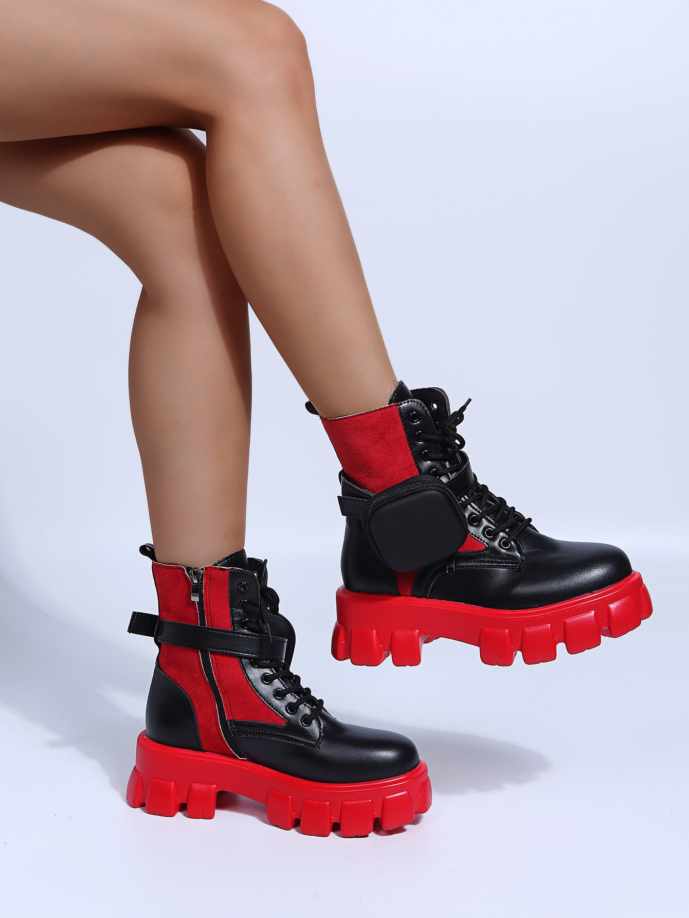 Two Tone Lace-Up Combat Boots
