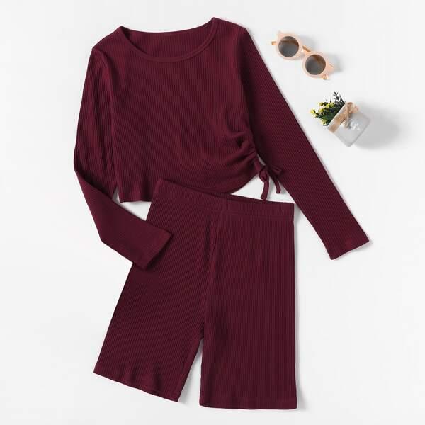 Girls Drawstring Side Ribbed Knit Top & Shorts, Burgundy