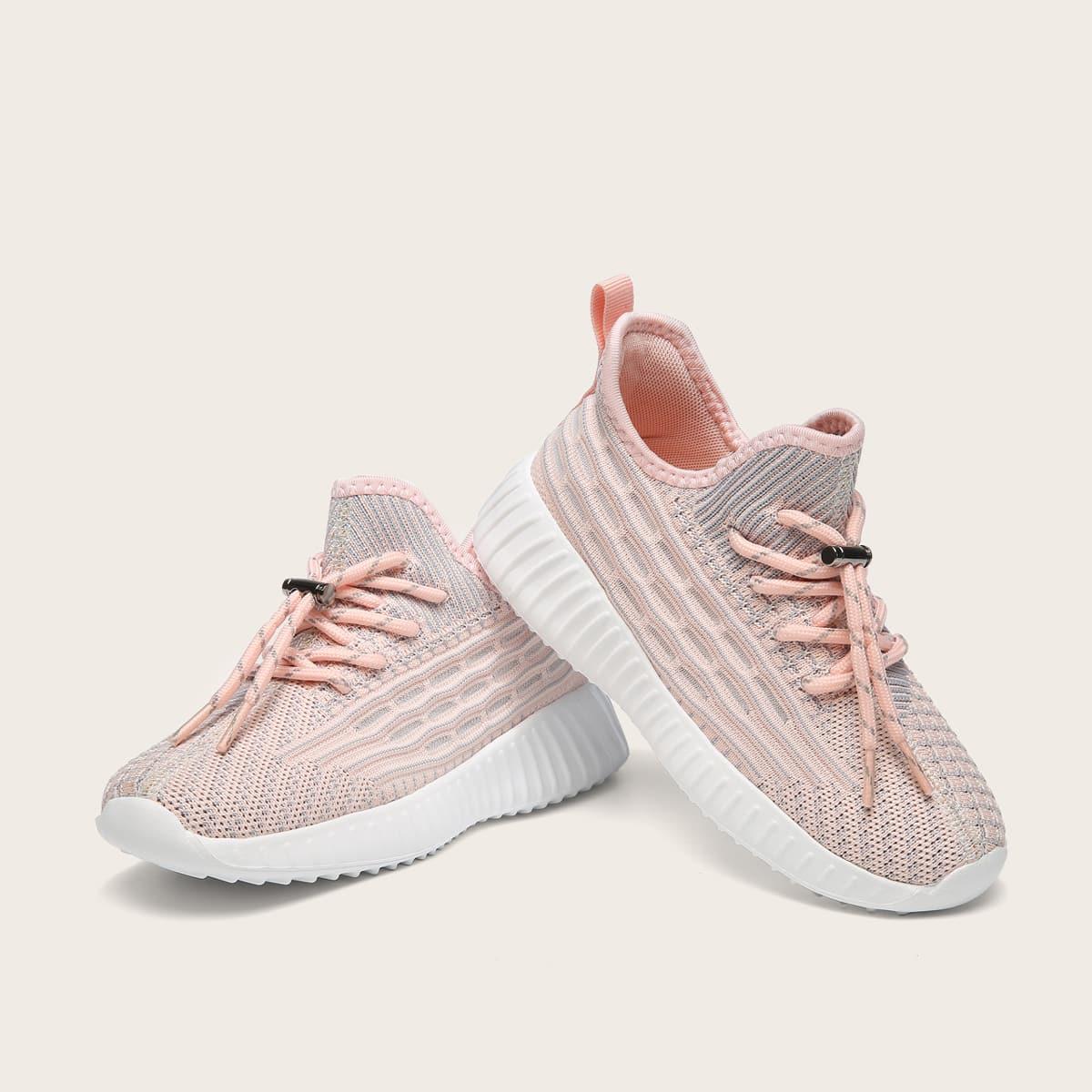 для девочек Беговая обувь на шнуровке вязаный от SHEIN