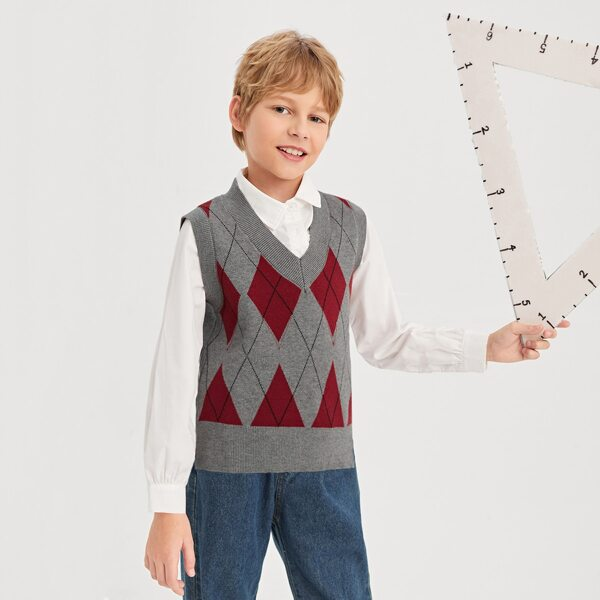 Boys Argyle Pattern Sweater Vest Without Shirt, Multicolor