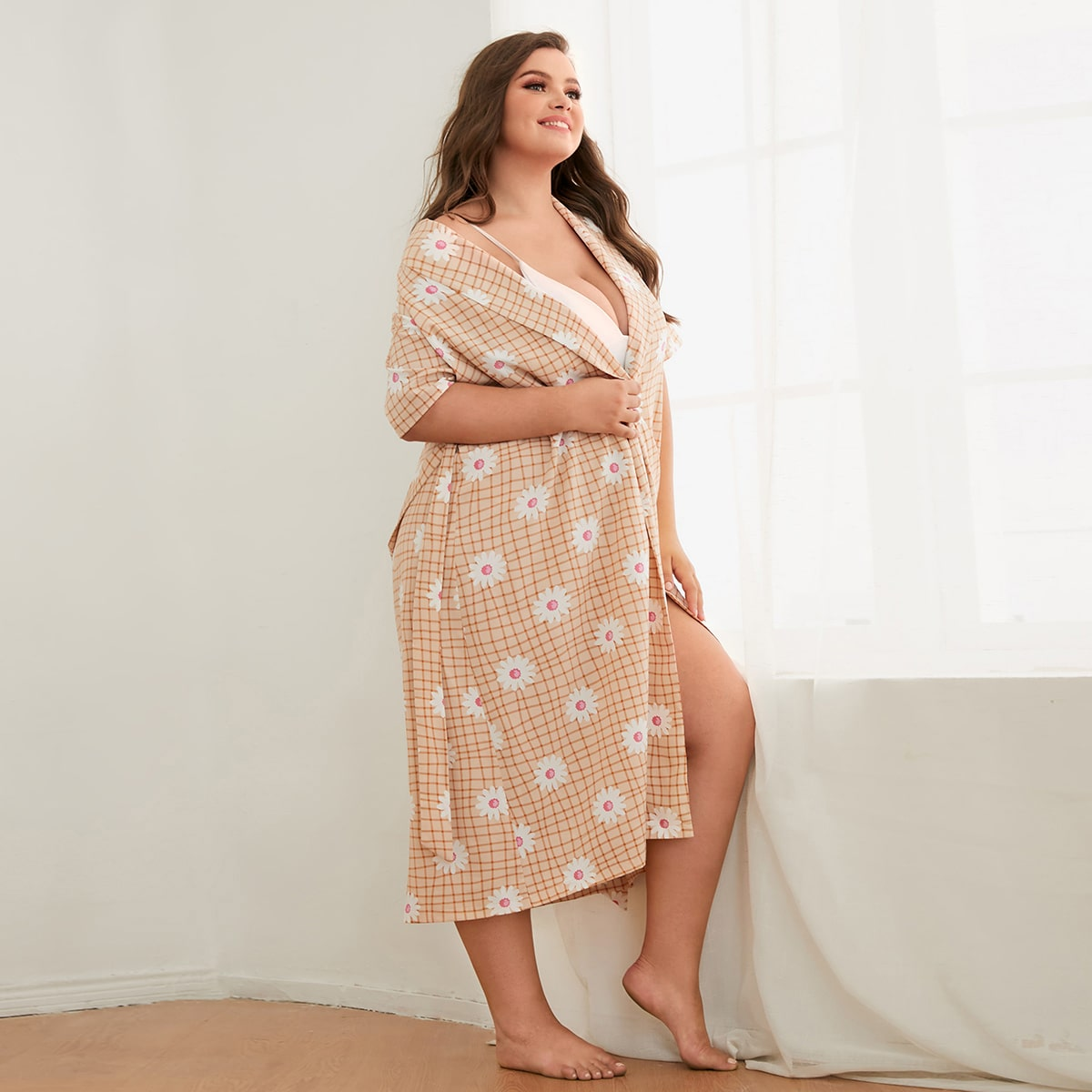Plus Shawl Neck Floral & Grid Print Belted Lounge Robe, SHEIN  - buy with discount