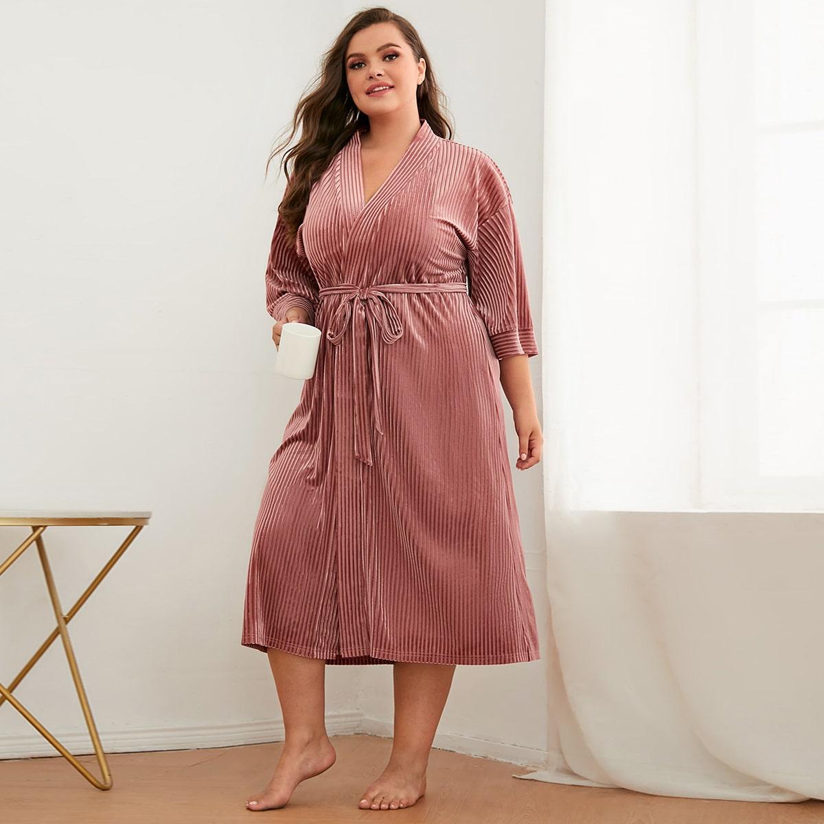 Plus Tie Front Drop Shoulder Cord Wrap Robe, SHEIN  - buy with discount