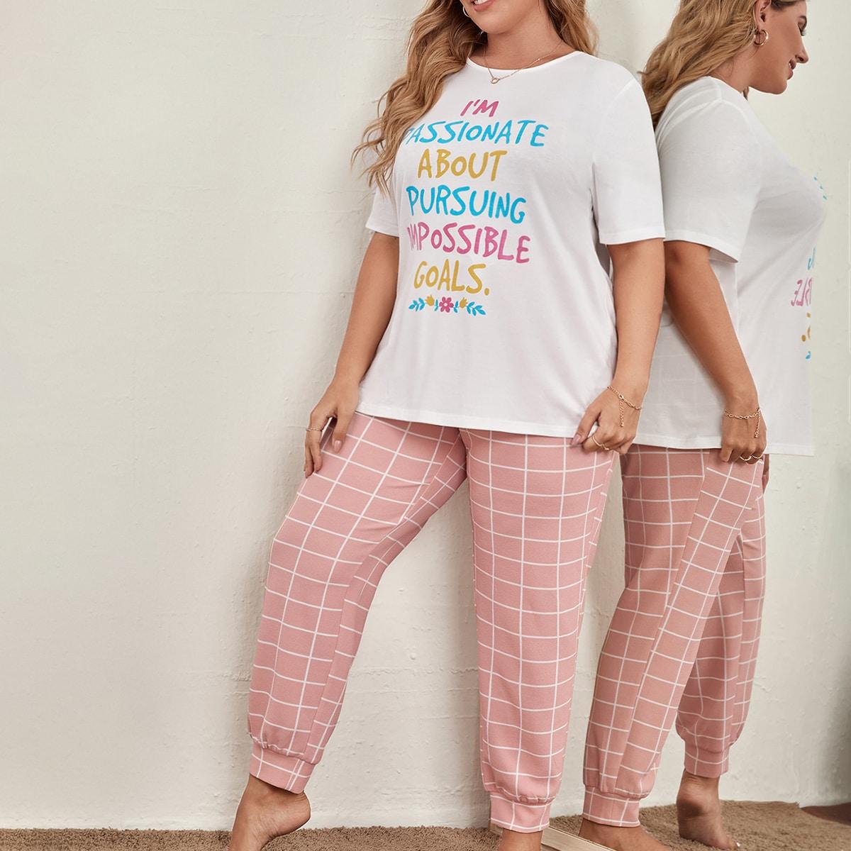 Plus Slogan Print Tee & Plaid Pants PJ Set, SHEIN  - buy with discount