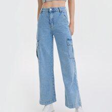 90s Vintage High-Waist Flap Pocket Whip Stitch Cargo Jeans