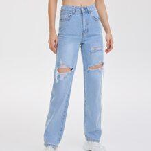 High Waist Ripped Wide Leg Jeans