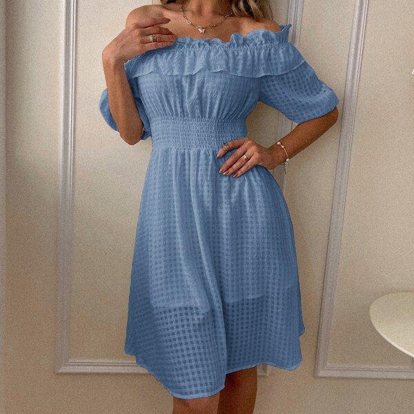 Bishop Sleeve Ruffle Trim Shirred Bardot Dress, Dusty blue