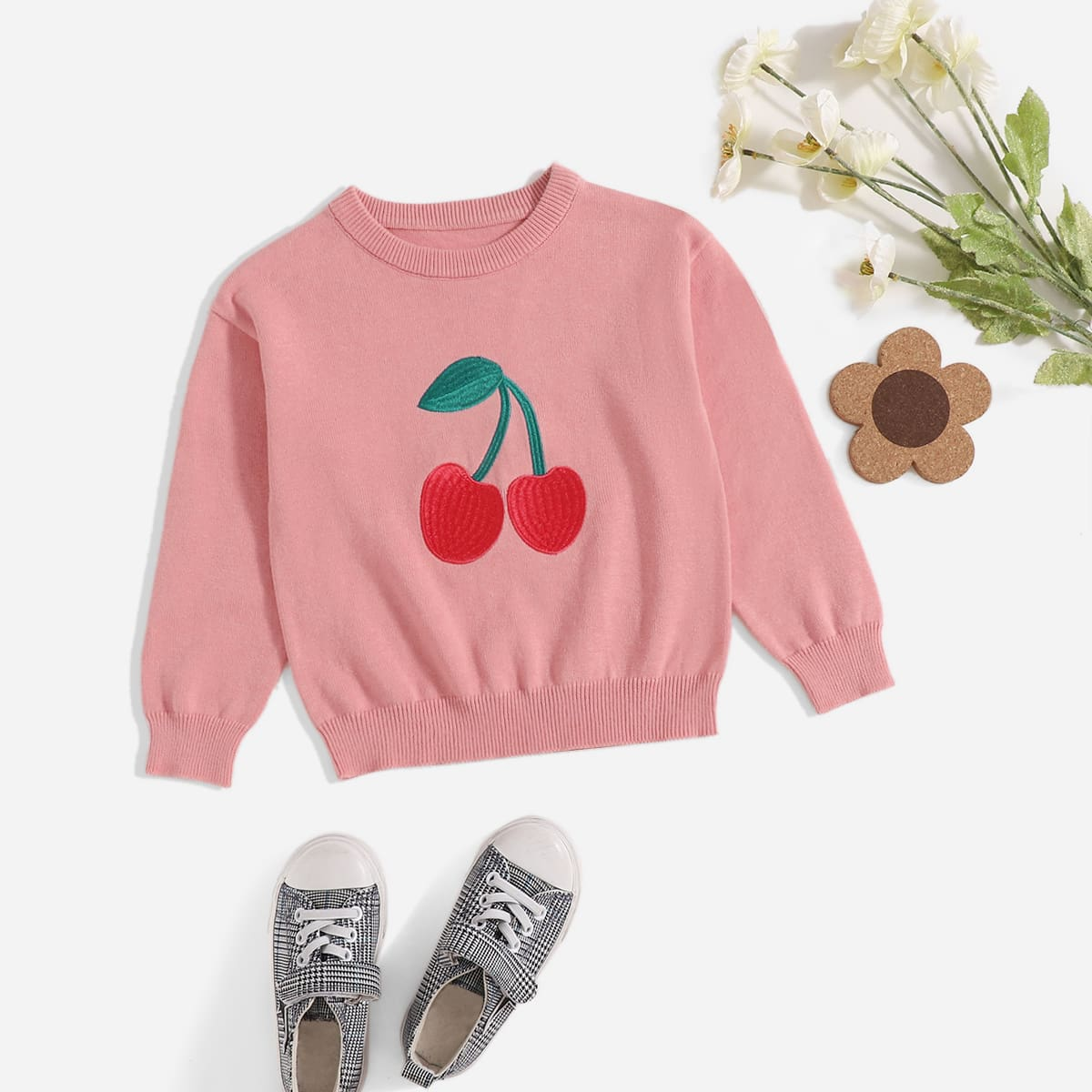 Toddler Girls Cherry Embroidery Sweater, SHEIN  - buy with discount
