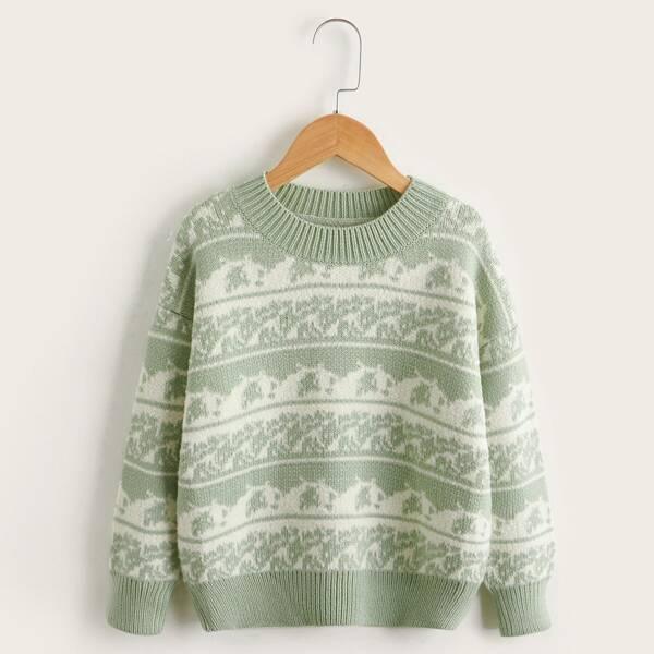 Girls Graphic Pattern Drop Shoulder Sweater, Green