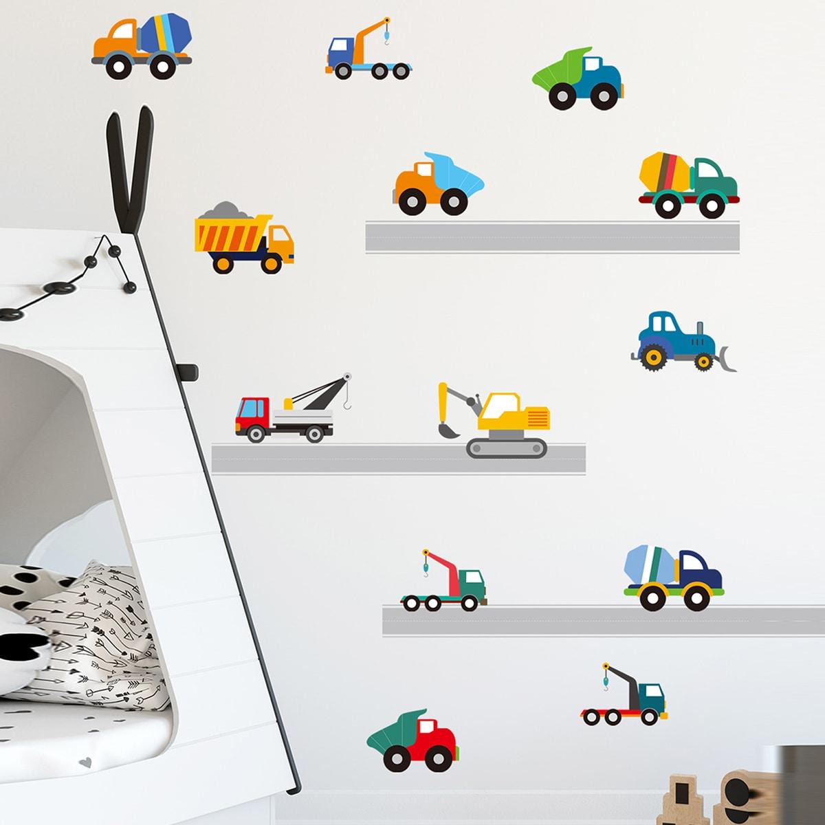 Наклейка на стену для детей с принтом инженерного автомобиля