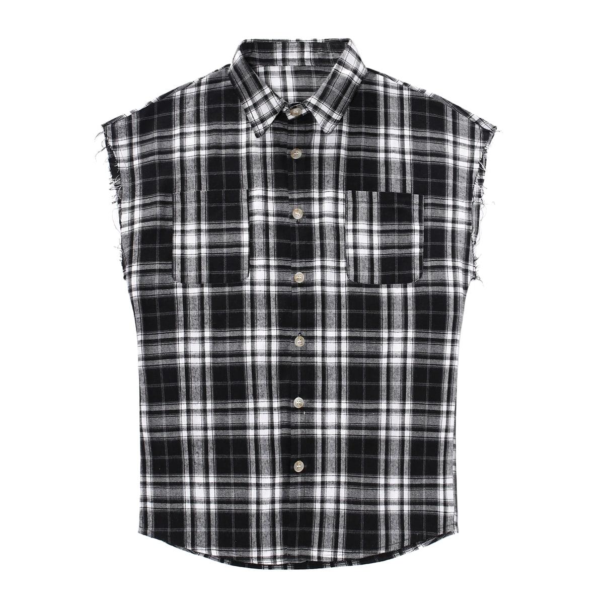 Мужской Рубашка в клетку на пуговицах без рукавов SheIn smshirt25210511441