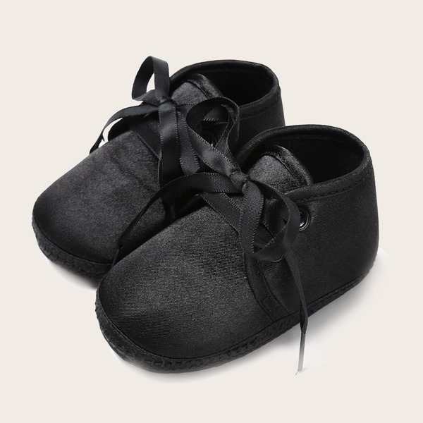Baby Minimalist Lace-up Front Flats, Black