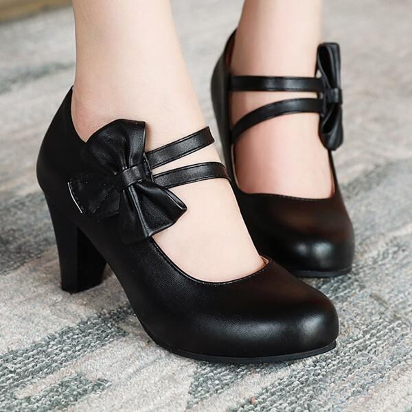 Minimalist Bow Decor Chunky Heeled Court Pumps, Black
