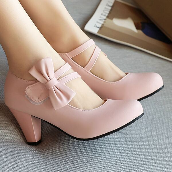 Minimalist Bow Decor Chunky Heeled Court Pumps, Pink