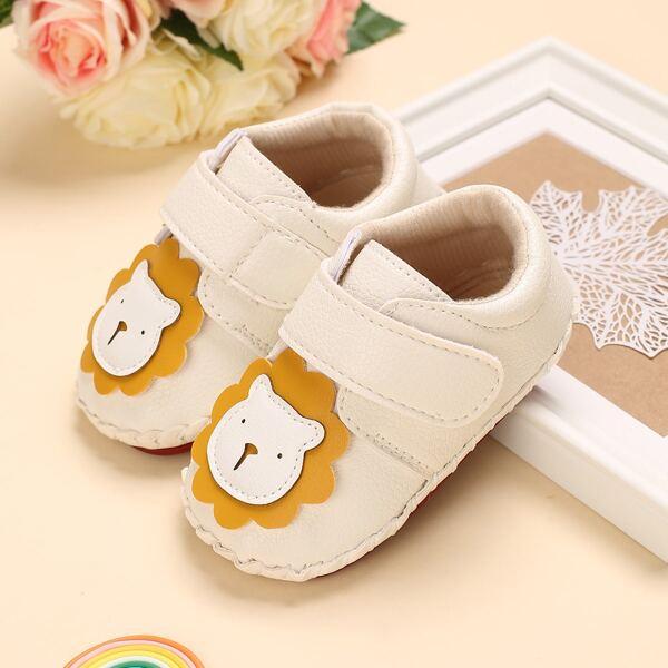 Baby Cartoon Lion Decor Flats, White