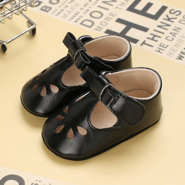 Baby Bow Decor Hollow Out Flats, Black