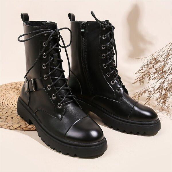 Minimalist Buckle Decor Lace-up Combat Boots, Black