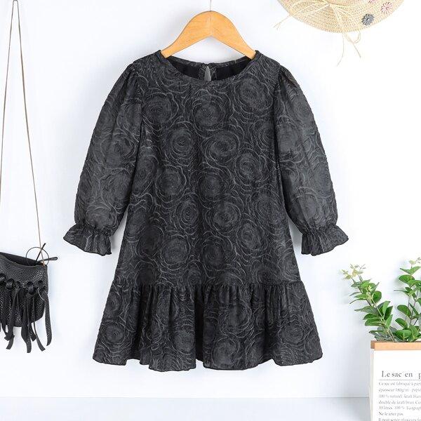 Toddler Girls Keyhole Back Ruffle Hem Dress, Black