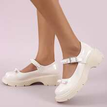 Faux Pearl Decor Wedge Mary Janes