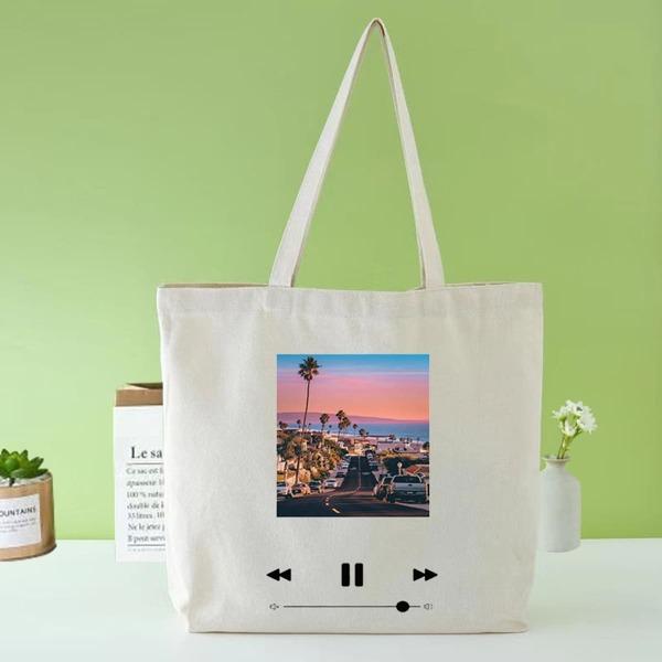 Landscape Graphic Shopper Bag, Beige